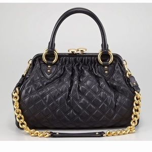 NWT MARC JACOBS Calfskin Quilted black  Stam bag